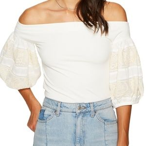 Free People Rock With It Off-The-Shoulder in Ivory